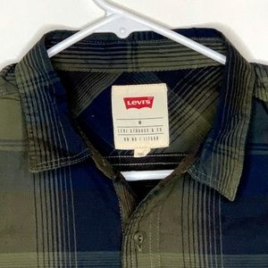 Levi's Mens Designer Shirt Green Black Plaid MED